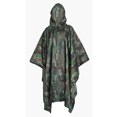 Poncho Militar de Camuflaje para Camping, Caza, Senderismo, Camuflaje del Bosque Profundo