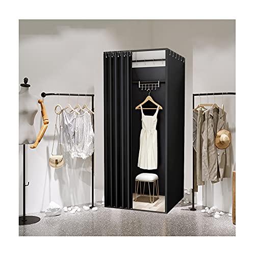 Klädaffär passande rum, bärbart omklädningsrum, kontor utomhusaktiviteter byt kläder sekretessdelare, fyrkantig metallram och mörkläggningsgardiner (svart) 85 x 85 x 200 cm