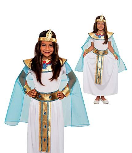 Magicoo Ägyptische Königin Kleopatra Kostüm Kinder Mädchen von Gr 116 bis 146 - Götin Cleopatra Fasching Kostüm (140/146)
