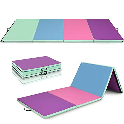 Giantex 4'x10'x2 Gymnastics Mat Folding Panel Thick Gym Fitness Exercise (Green/Blue/Pink/Purple)