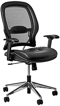 SPACE Seating Professional AirGrid Back and Eco Leather Seat and Trim 2-to-1 Synchro Tilt Control Adjustable Arms and Lumbar Polished Aluminum Base Managers Chair Black