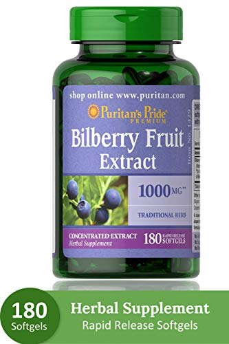 Puritans Pride Bilberry 1000 Mg Softgels, 180 Count