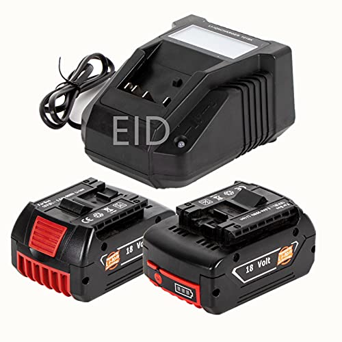2 baterías de litio de 18 V 5.0 Ah con cargador rápido 3 A para Bos-ch 18 V BAT609 BAT609G BAT618 BAT618G BAT619 BAT619G BAT610G 2607336169 2607336170