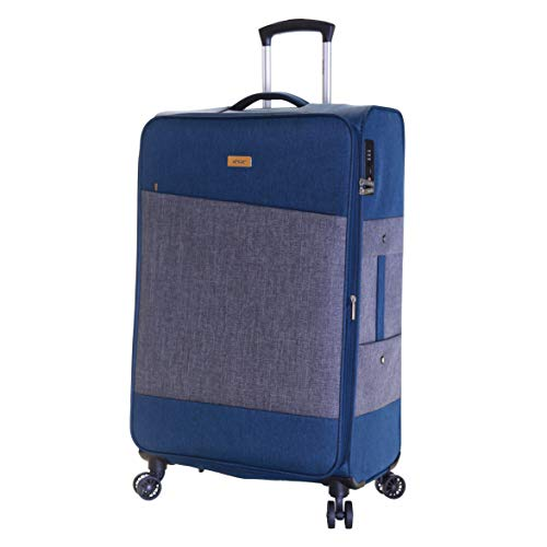 Karabar Large Luggage Suitcase Bag Expandable Lightweight L 78 cm 100 litres 4 kg with 4 Spinner Wheels and Integrated TSA Number Lock, Chelsea Blue