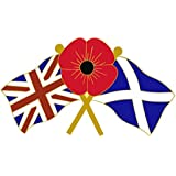 UNION SCOTLAND FLAG RED FLOWER PIN BADGE