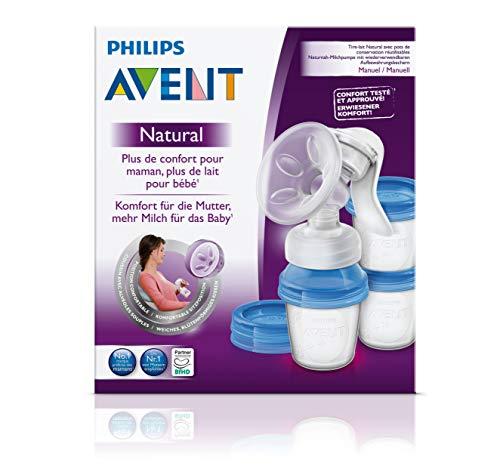 Philips Avent SCF330/13 - Extractor de leche manual, con cojín masajeador y 3 vasos de almacenamiento