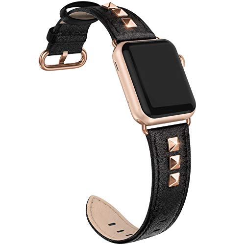 SWEES Genuine Leather Band Compatible for iWatch 38mm 40mm, Dressy Designer Bling Rivets Studs Bands Strap Compatible for iWatch Series 5, 4, 3, 2, 1, Sports & Edition Women, Black