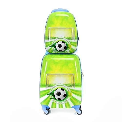BONTOUR 2 Stück Kinderkofferset, Rucksack + Kindertrolley Reisegepäck (Fußball)