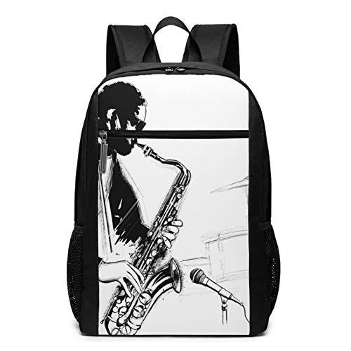 Schulrucksack Man Saxophone Player Mikrofon, Schultaschen Teenager Rucksack Schultasche Schulrucksäcke Backpack für Damen Herren Junge Mädchen 15,6 Zoll Notebook