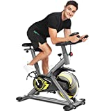 ANCHEER Bicicleta de Spinning Bicicleta Estática de Ejercicio Hogar , Volante deInercia de 18 kg, Conexion con APP Pantalla LCD, Sensor de Impulsos, Manillar Sillín Ajustables, Carga Máxima: 120 kg