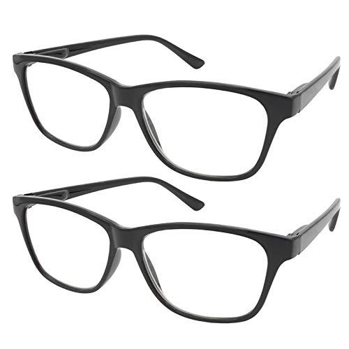 TBOC Lesebrille Lesehilfe für Herren und Damen - [Pack 2 Einheiten] Dioptrien +2.50 [Schwarz] Fassung mit Stärke für PC Handy Trend Frauen Männer Senioren Alterssichtigkeit Presbyopie