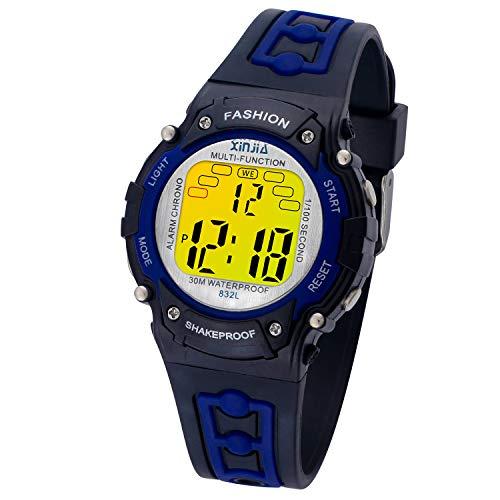 Kinder Uhren Jungen Digital,wasserdichte SportuhrMultifunktions Armbanduhr für Kinder mit Alarm (Schwarz-Blau)
