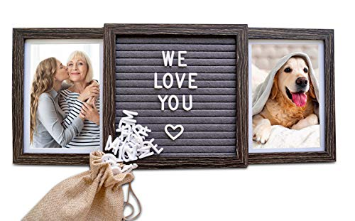 Oak Letters Customizable Picture Frame (Rustic Brown) with Genuine Felt Letter Board: Personalized Two Picture Frame for Mom, Family, Friends, Dogs, Mothers Day