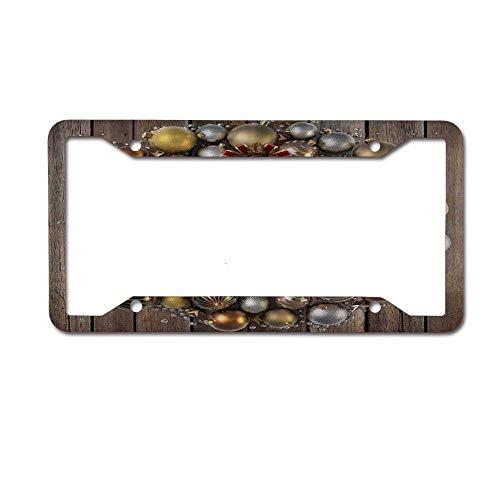 JUCHen Holiday Christmas Gold Silver Wreath Digital License Plate Frame - Metallicense Plate Frame,License Tag Holder