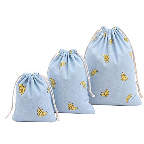 Msyou, confezione da 3sacchetti in cotone e lino con coulisse, per donne, ragazze, per contenere oggetti vari, per la scuola, la casa, i viaggi, idea regalo, con motivo con gufo S/M/L Banana