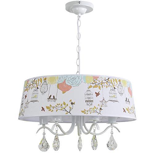 Lampadario da soffitto E27 per bambini, paralume in tessuto, decorazione uccello e gabbia per uccellini per neonati, ragazze, camerette, asilo (A ++) Ø53cm E27*5