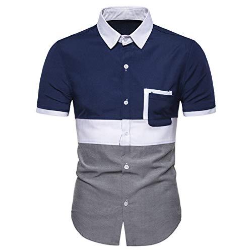 Camisa Hombres Verano Slim Fit Hombres Manga Corta Botones A Juego Moda Camisa Bolsillo Hombres Camisa Clásica Básica Negocios Casual Hombres Camisa Henley B-Blue XXL