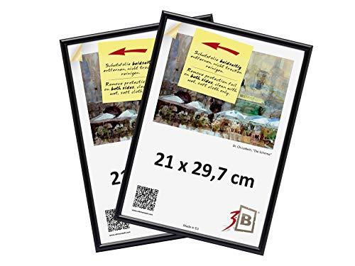 3-B Set 2 STK. - Bilderrahmen Foto - 21x29,7 cm (A4) - schwarz - Fotorahmen, Kunststoffrahmen mit Polyesterglas. Sparpaket!