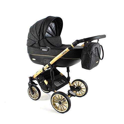 Poussette combinée 3en1 2in1 Isofix Gold Buggy Siège auto Tis by ChillyKids Gold Black OG-05 2en1 sans siège bébé