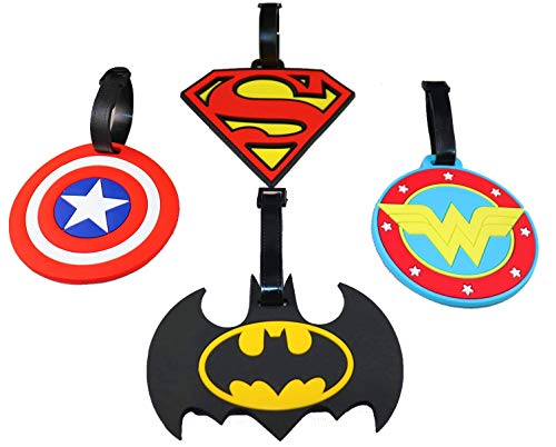 Superheroes Luggage ID Tags, Batman Superman Captain America Wonder Woman Logos, for Bags Backpack briefcase gym bag golf bag school bag baby stroller, with Adjustable Strap