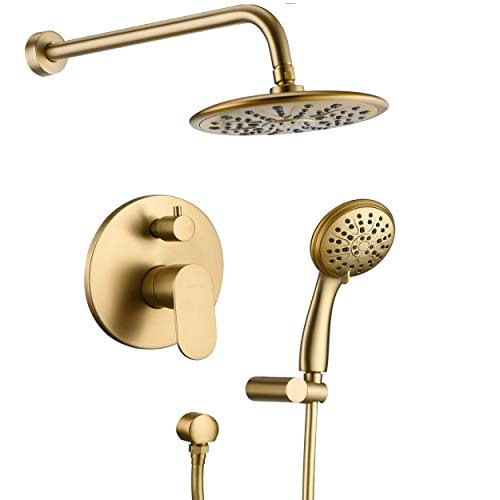 Shower System, Wall Mounted Shower Faucet Set for Bathroom with High Pressure 8  Rain Shower head and 3-Setting Handheld Shower Head Set, Pressure Balance Valve with Trim and Diverter, Brushed Gold