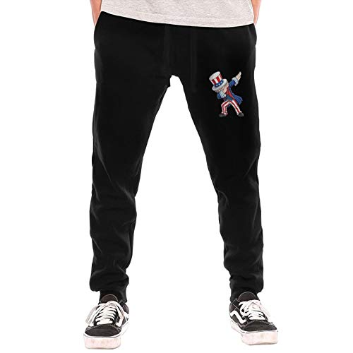 Preferred Store Dabbing Uncle Sam Independence Men's Long Comfy Drawstring Trousers Waist Elastic Pants Casual Pants