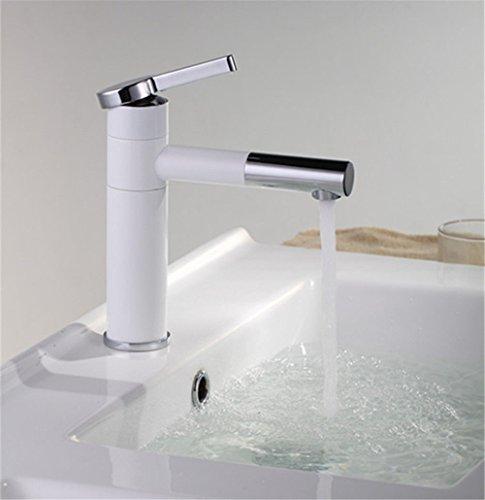 Grifo mezclador para lavabo, grifo de lavabo moderno con cuerpo de grifo de latón, grifo de pintura de alta temperatura blanco cobre, grifo giratorio para lavabo caliente y frío, grifo antioxidante de un solo agujero
