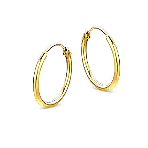 Miore - Pendientes de aro para mujer de oro amarillo de 14 quilates / 585