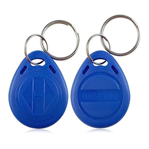 AMAO RFID Chip Transponder Schlüsselring EM4100 Nähe 125KHz RFID EM ID Etikett Token Schlüsselanhänger Nur Lesen für Tür Zugangskontrolle System, Farbe Blau (100 Stück)