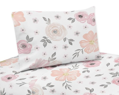 Sweet Jojo Designs Blush Pink, Grey and White Queen Sheet Set for Watercolor Floral Collection 4 Piece Set