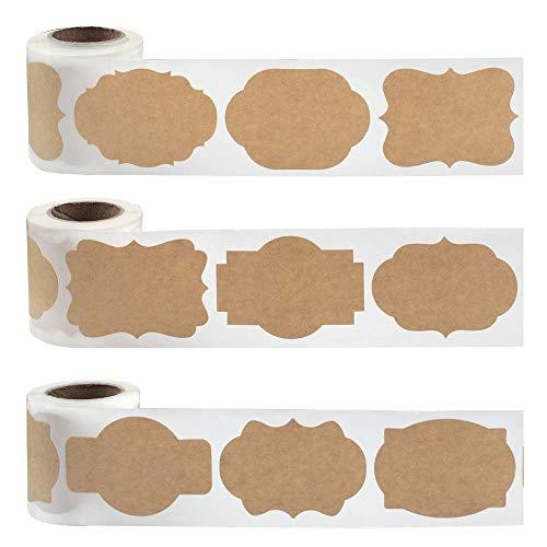 450 Stück Selbstklebend Kraftpapier Sticker Geschenkaufkleber für Weihnachten Vintage Hochzeit Einladung Basteln Natürliche Kraftpapier Etiketten zum Beschriften (9 Stil)