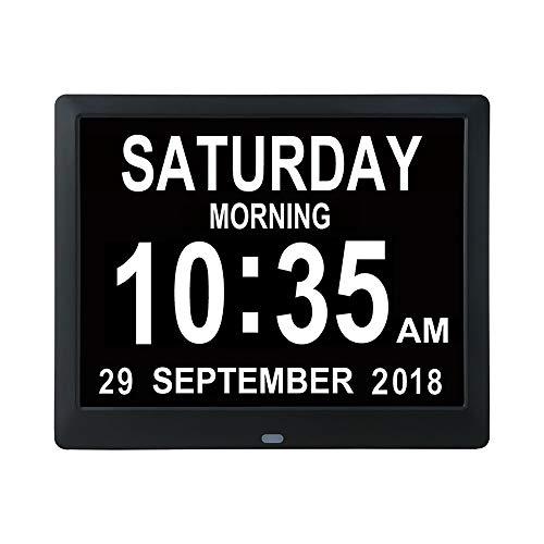 LHZTZKA digitale klok, kalender, klok met datum, 5 alarmen en 3 herinneringen dag en tijd | klok Alzheimer | klok voor senioren, dat is zwart.