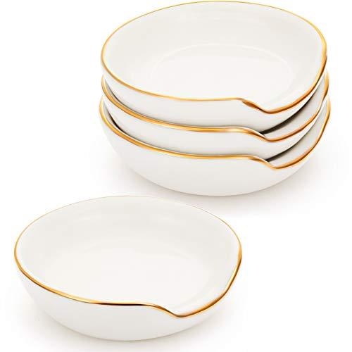 4 Pezzi Mini Appoggia Cucchiaio in Ceramica da 2,7 Pollici, Poggia Cucchiaio da Cucina con Bordo Oro, Mni Porta Cucchiaio da Cucina per Top Stufa Banco Poggia Cucchiaino da Caffè