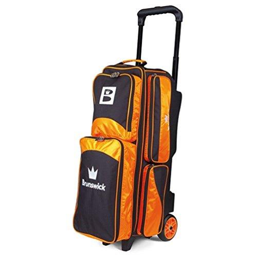 Brunswick Edge Bowlingtasche mit drei Rollen, Schwarz/Orange