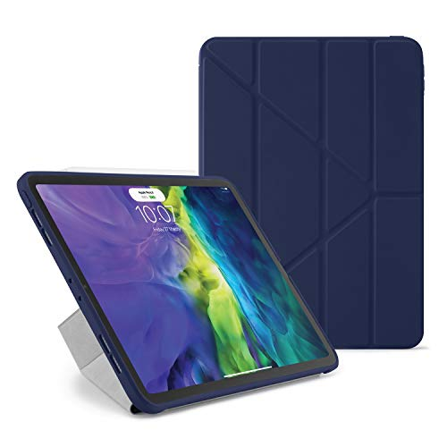 Pipetto Origami iPad Case Pro 11 (2020) 2nd Generation   Shockproof TPU Bumper with 5-in-1 stand   Apple Pencil 2 sync and charge compatible - Dark Blue