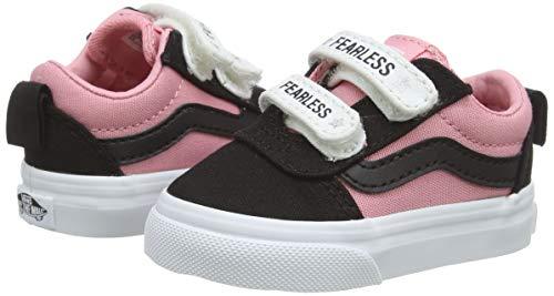 Vans Ward V - Velcro Canvas, Sneaker Unisex-Bimbi, glassa Multicolore Senza Paura Nera Rosa Wg8, 18 EU