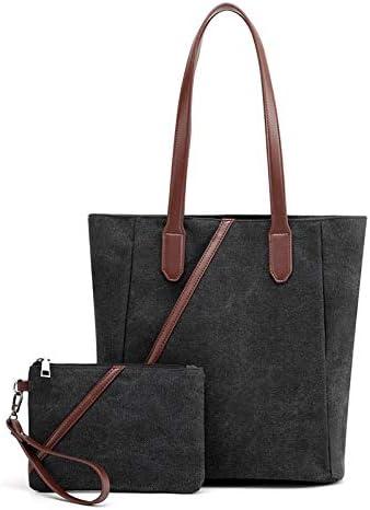 H/A Ms. 2020 Casual Shoulder Bag Large Capacity Bag Fashion Wild Solid Color Simple Picture Canvas Bag MENGB (Color : Black, Size : 31X28X13CM)
