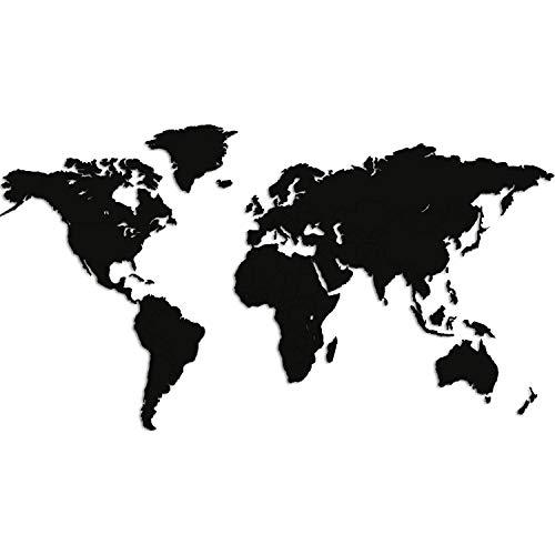 Giallobus - Mappa del Mondo - Decorazione da Parete in Legno MDF Nero - 190X105 CM