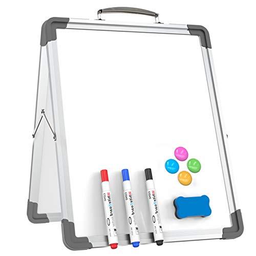 YEWOD Small Dry Erase - Pizarra blanca portátil, plegable, magnética, de doble cara, para oficina, hogar, escuela (plateada)