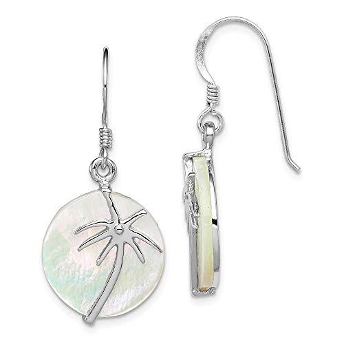 925 sterling zilver gepolijst gesimuleerd parelmoer palmboom ronde oorbellen