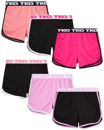 TKO Girls' Active Shorts - 6 Pack Athletic Gym Dolphin Shorts (Size: 7-12), Size 7/8, Berry Assortment