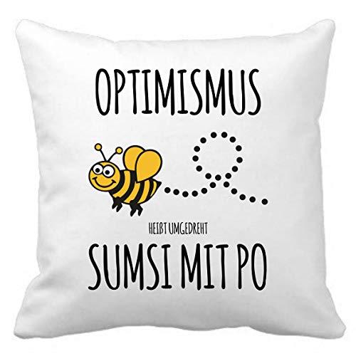 Tassenliebe® - Kuschelkissen mit Spruch Optimismus heißt umgedreht Sumsi mit Po. Geschenk für Freund, Freundin Kissen inkl. Innenkissen