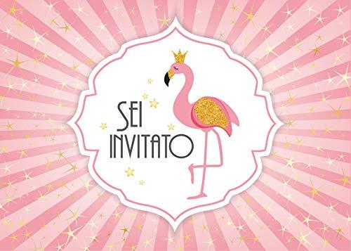 Edition Colibri 10 inviti per Festa di Compleanno; Motivo: Fenicottero / Principessa / inviti di...