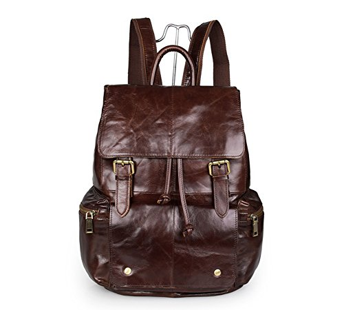 YAAGLE Flotter entspannter Rucksack erstklassige Laptoptasche aus echtem Leder Herren Tasche Schultertasche aus echtem Leder (coffee(stitched))