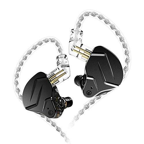 KZ ZSN Pro X 1BA 1DD In-Ear-Kopfhörer, KZ In-Ear-Monitor-Kopfhörer mit abnehmbarem 0,75 mm 2-poligem Kabel (schwarz, kein Mikrofon)