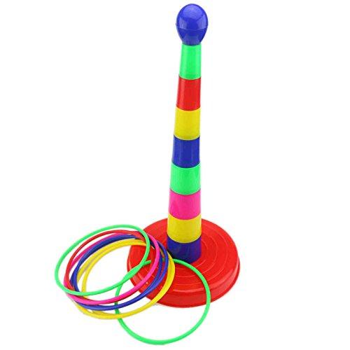 Ogrmar 18  Colorful Plastic Sport Ring Toss Game Set for Kids