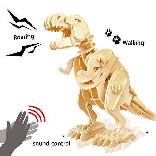 ROKR 3D Wooden Puzzle-Robotic Dinosaur Toys,Sound Controlled Walking T-Rex Jigsaw Puzzle Engineering Toy,Building Model Wood Craft Kit,Brain Teaser Games,Birthday Gift for Boys,Kids and Adults