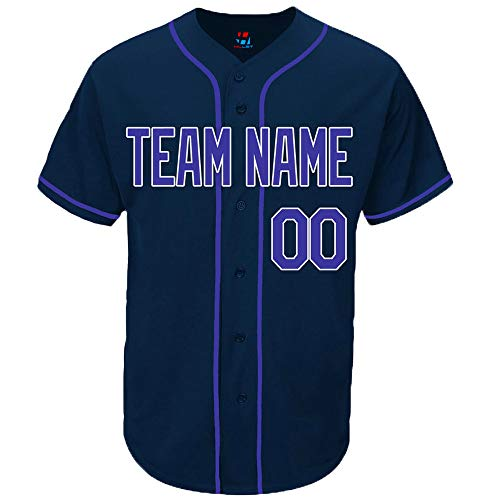Pullonsy Navy Custom Baseball Jersey for Men Throwback Embroidery Team Player Name & Numbers,Blue-White,Size 2XL