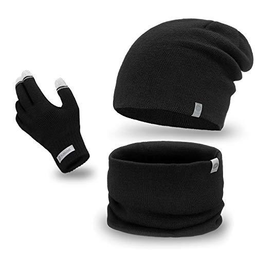PaMaMi Herren Winter-Set, 3-teilig (Touchscreen-Handschuhe, Beanie-Mütze, Loop-Schal)| 100% Acryl | Handschuhe mit Touchscreen-Funktion, atmungsaktive Mütze und wärmender Loop-Schal in Strickoptik