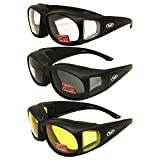 Global Vision Three (3) Pairs Motorcycle Safety Sunglasses Fits Over Rx Glasses Smoke